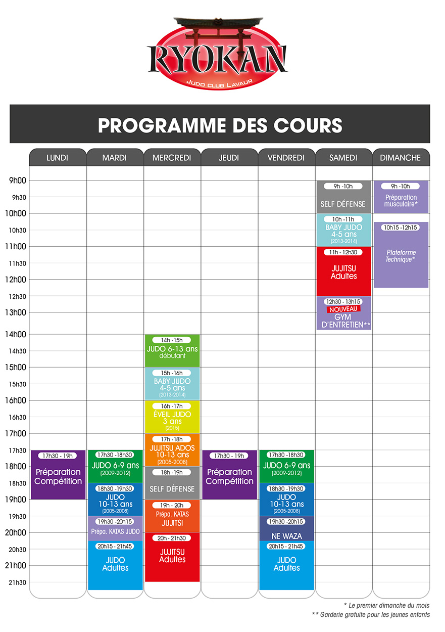 Ryokan Judo Lavaur - Planning 2019-2020